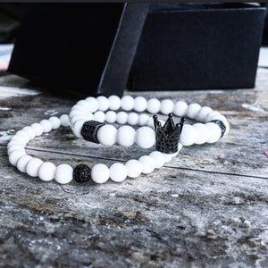 Bracelets De Distance Pour Couple Blanc & Noir / 16Cm Dark Label Shop Perles
