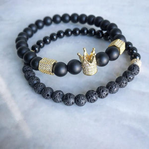 Bracelets De Distance Pour Couple Noir & Doré / 16Cm Dark Label Shop Perles