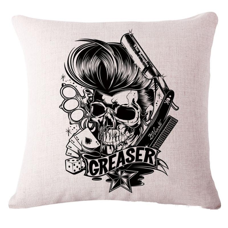 Housse De Coussin Style Old School Greaser Skull Coussins