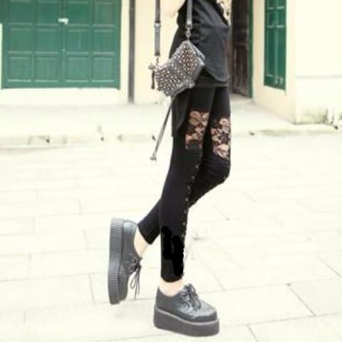 Leggings Dentelle Et Lacets Gothique Rock Dark Label Shop