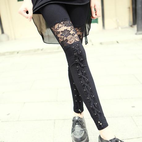 Leggings Dentelle Et Lacets Gothique Rock S Dark Label Shop