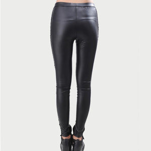Leggings Simili Cuir Et Dentelle Noir Tendance Dark Label Shop