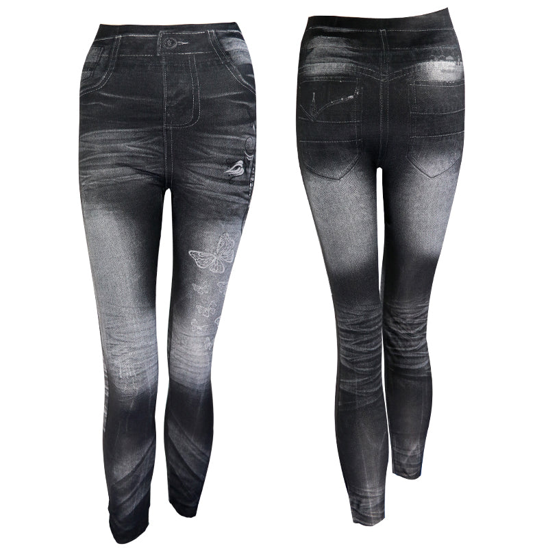 Leggings Sexy Slim Noir Imitation Jeans extensible à la mode rock chic