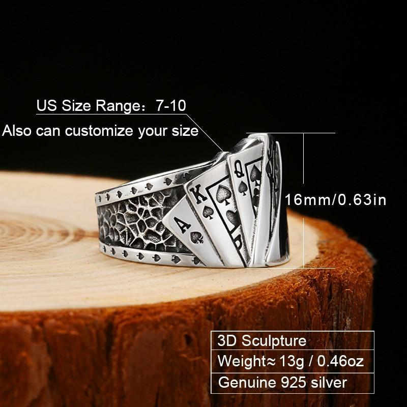 Bague Cartes de Jeu Poker en Argent Unisexe descriptif | Dark Label Shop