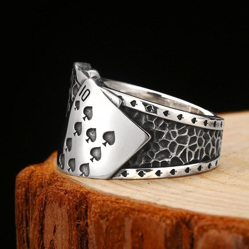 Bague Cartes de Jeu Poker en Argent Unisexe | Dark Label Shop