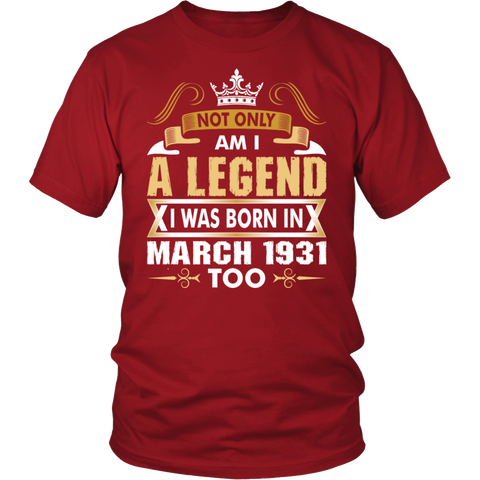 Legends Are Born In March Birthday Tshirt