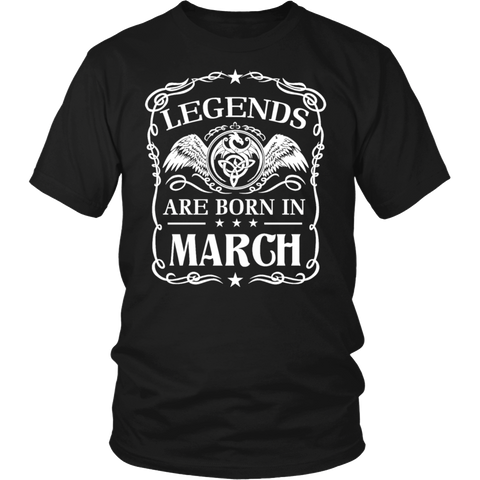 Legends Are Born In March Birthday Gift T Shirt March B-day