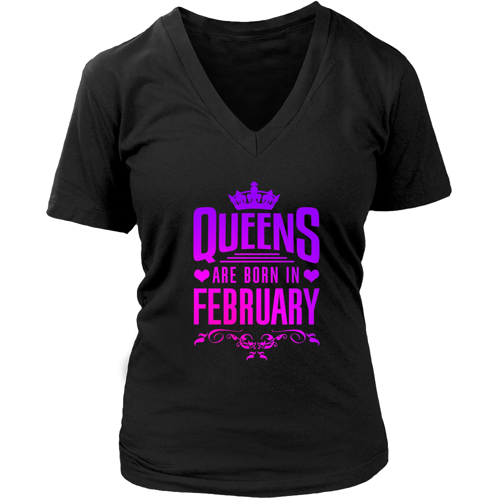 Women's Queens are born in February funny T-shirt