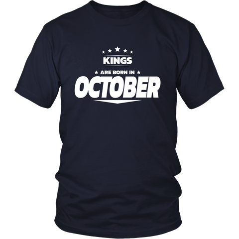 Kings Are Born In October Birthday Gift For Men T-Shirt