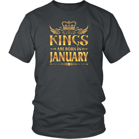 Kings Are Born In January Shirt for Men Gold Birthday Gift