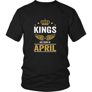 Kings Are Born In April T Shirt Gift for Black Men Tee
