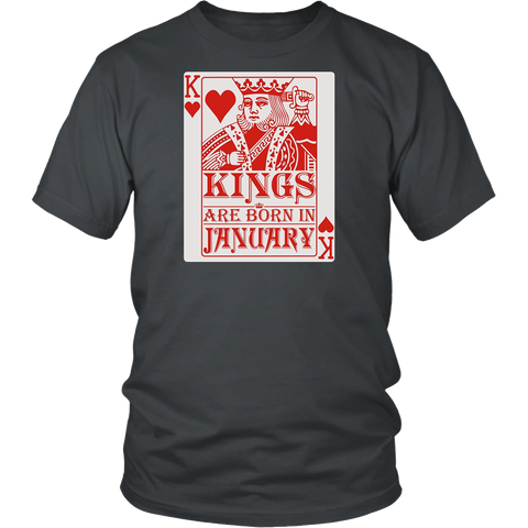 Kings Are Born In January T-shirt Playing Poker Card