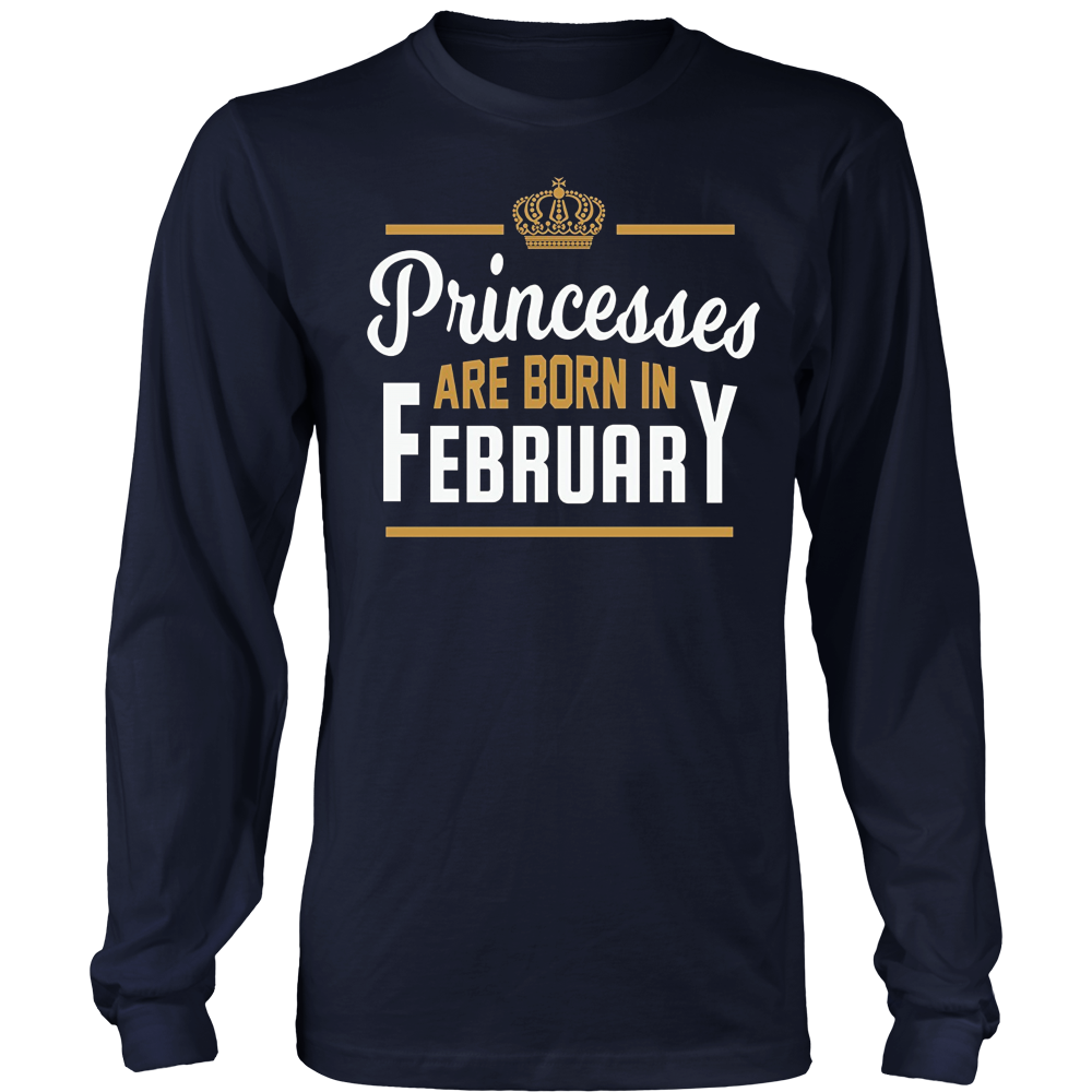 Princesses Are Born In February T-Shirt Birthday Gift Shirt