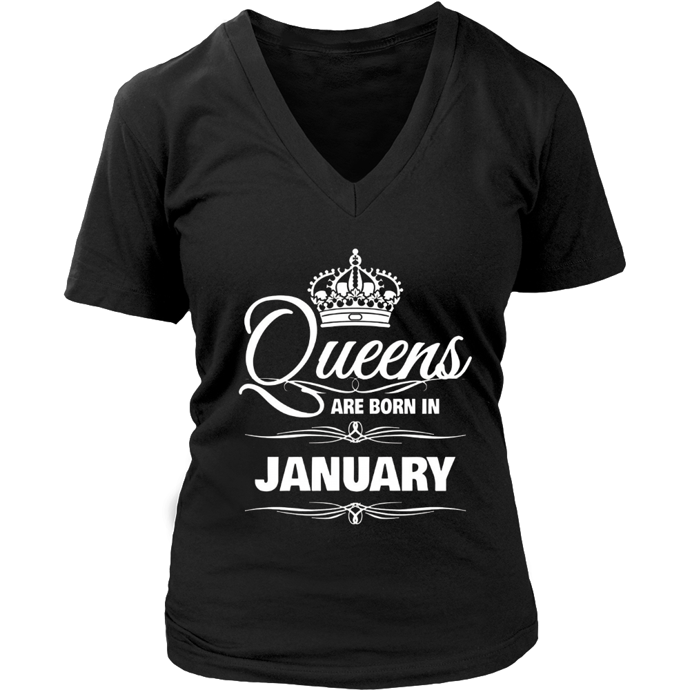 WOMEN'S QUEENS ARE BORN IN JANUARY BIRTHDAY T-SHIRT