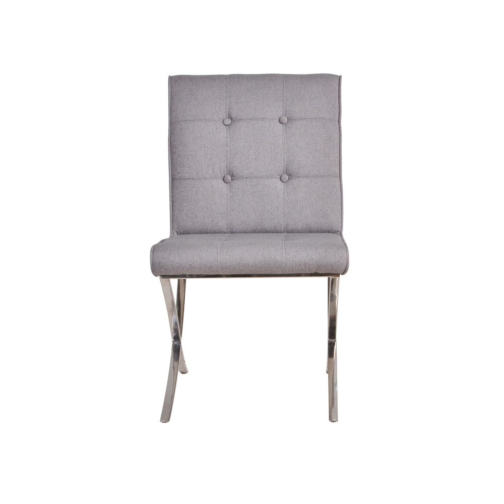 Mucia Fabric Chair - Light Grey, Set of 2