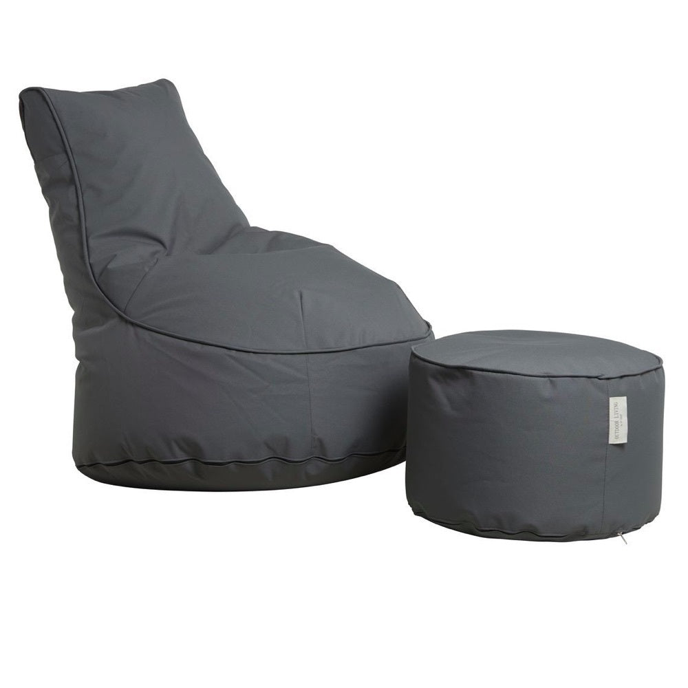 "Outdoor Sitting Bag ""Comfort"" and Pouf - Black Grey"
