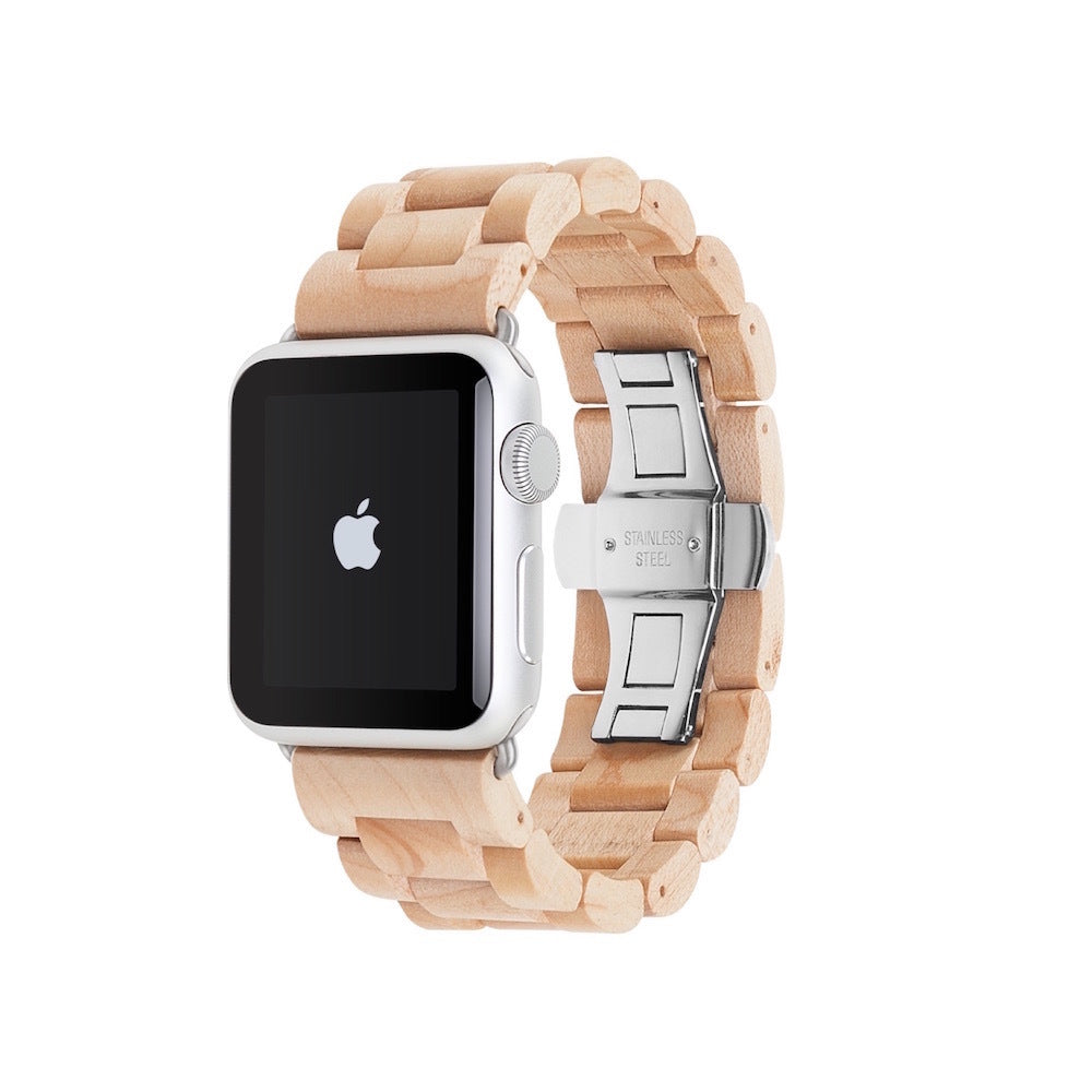 Wooden Strap for Apple Watch - Maple Silver