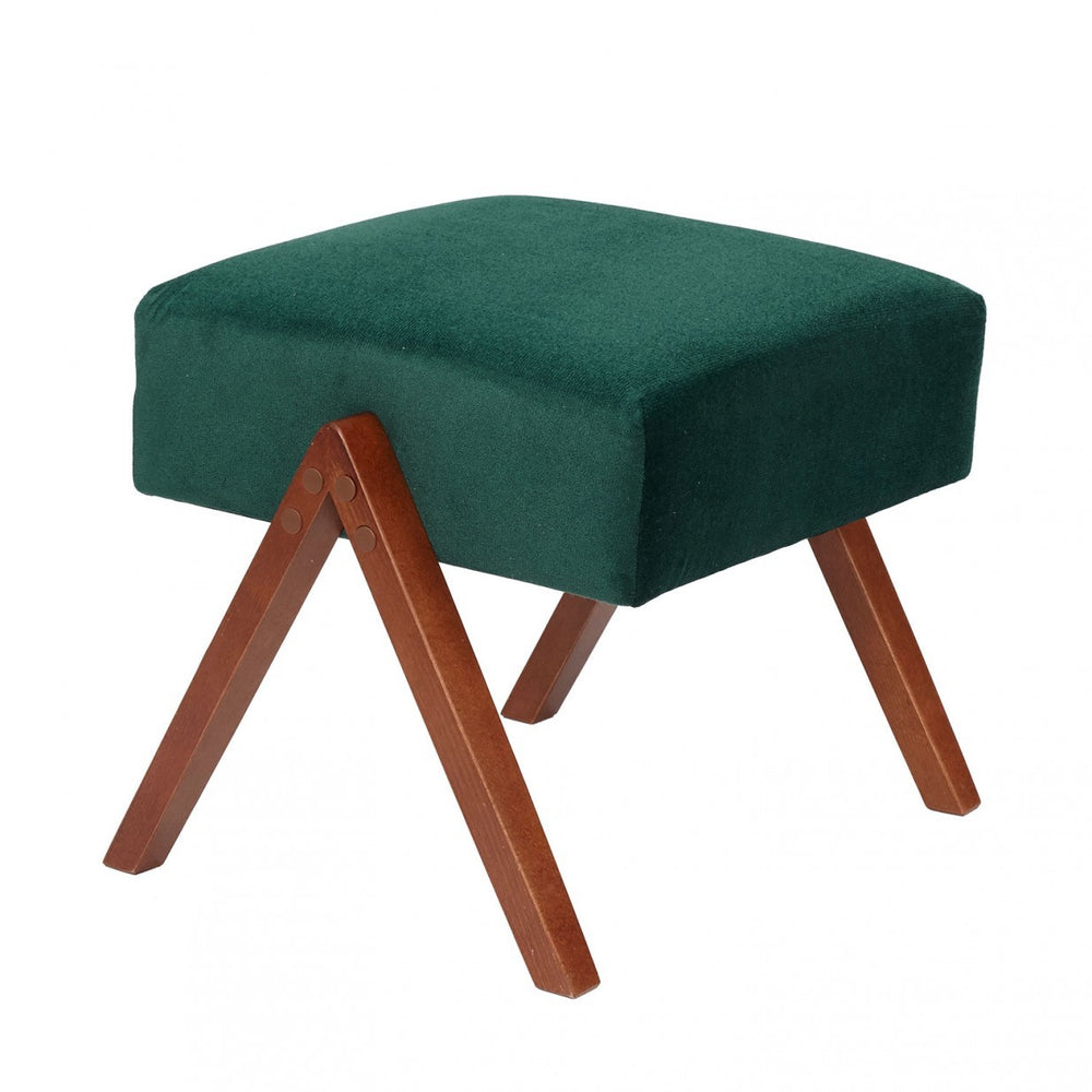 Retrostar Velvet Footstool - hunter green