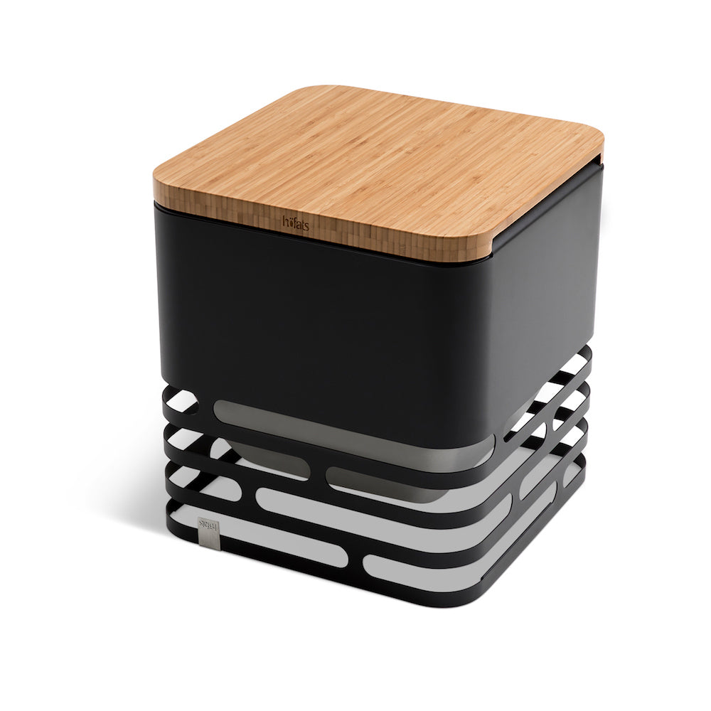 CUBE - Fire Basket, Black + Board