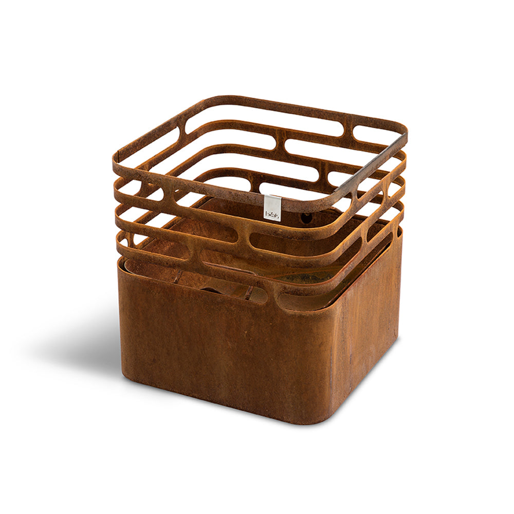 CUBE - Fire Basket, Rust + Board