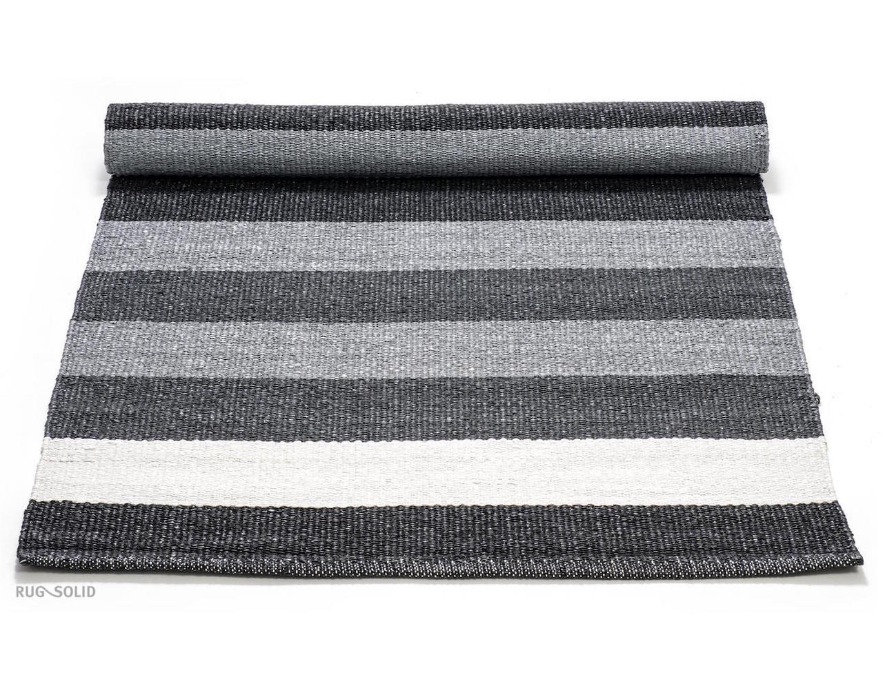PLASTIC RUG - BLACK/GREY/WHITE STRIPED