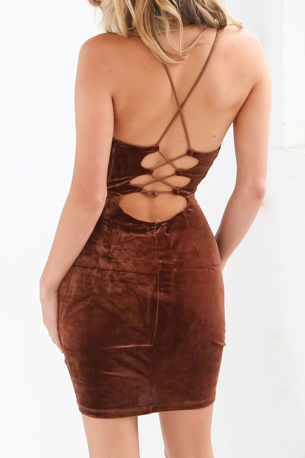 Brown Spaghetti Strap Dress
