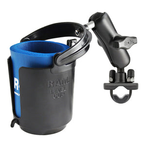 RAM Handlebar Rail Mount with Zinc Coated U-Bolt Base, Level Cup™Drink Holder & Koozie - Gizmobusters