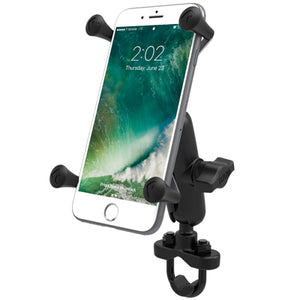 RAM Handlebar Rail Mount with Zinc Coated U-Bolt Base & Universal X-Grip® Large Phone/Phablet Cradle - Gizmobusters