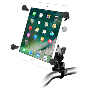 RAM Handlebar Rail Mount with Zinc Coated U-Bolt Base and Universal X-Grip™II Holder for Small Tablets - Gizmobusters