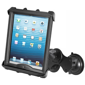 "RAM Double Twist Lock Suction Cup Mount with Tab-Tite™Universal Spring Loaded Cradle for 10"" Tablets with HEAVY DUTY CASES - Gizmobusters"