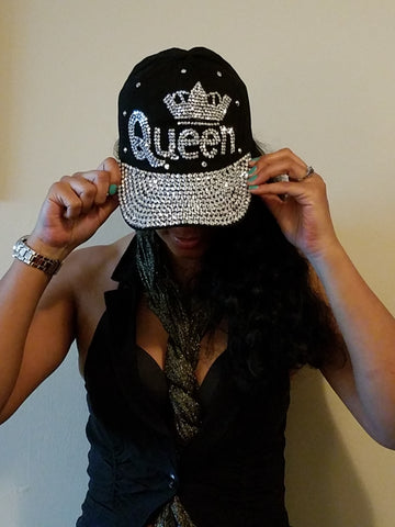 "Black Cap in ""Queen"" Rhinestone"