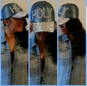 "Blue Jean Cap in ""Holy"" Rhinestone"