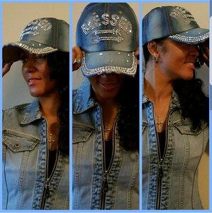 "Blue Jean Cap in ""Blessed"" Rhinestone"