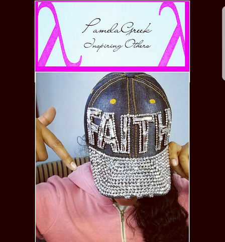 "Blue Jean Cap in ""Faith"" Rhinestone"