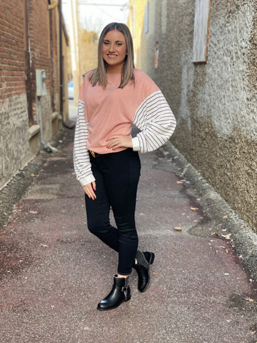 Blush Sweater With Striped Sleeve