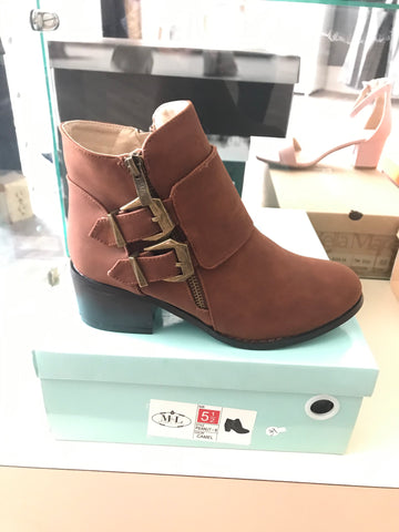 Cognac Double Buckled Bootie