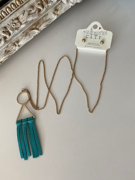 Leather Fringe Long Necklaces