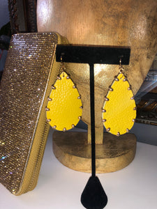 Teardrop Leather Studded Earring