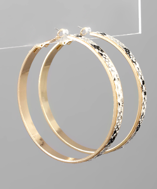 Snake Print Leather Hoops