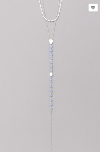 Silver & Light Blue Layered Necklace