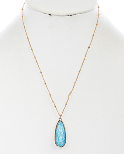 Teal Print Oval Necklace