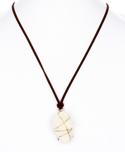Stone and Leather Necklace