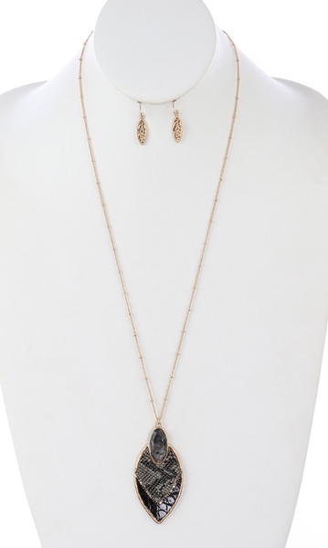 Animal Print Leather Necklace and Earring Set