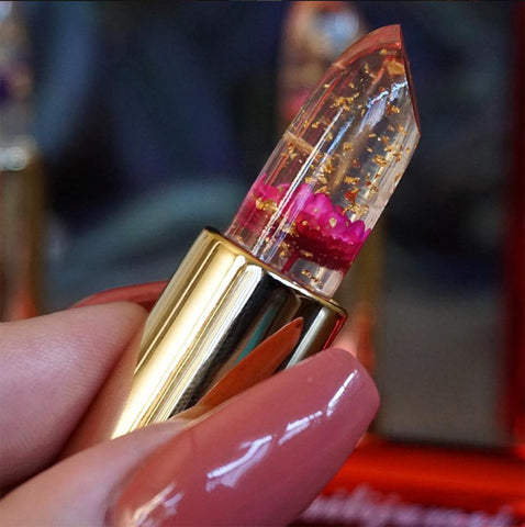 Image of Gold Flaked Flower Jelly Lipstick -  - Gizmostars