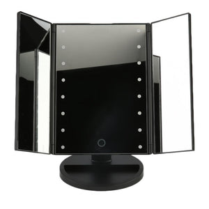 LED Cosmetic Vanity Mirror - Large Tri Fold / Black - Gizmostars