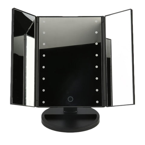 Image of LED Cosmetic Vanity Mirror - Large Tri Fold / Black - Gizmostars