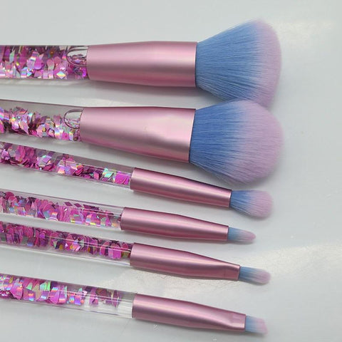 Liquid Glitter Makeup Brush Set & Pouch