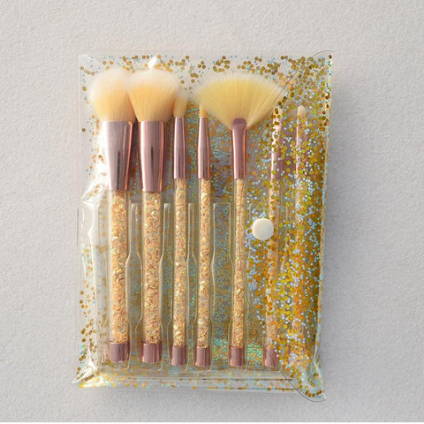 Liquid Glitter Makeup Brush Set & Pouch - Yellow - Gizmostars