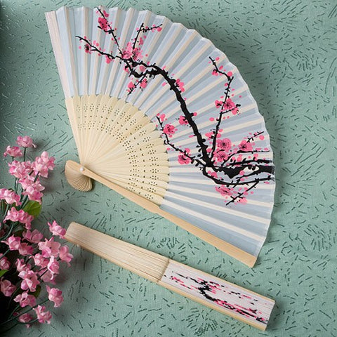 Cherry Blossom Design Silk Folding Fan