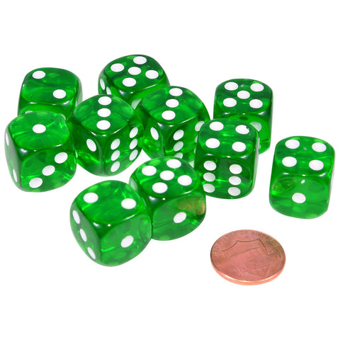 Green Transparent Dice - 1 pair
